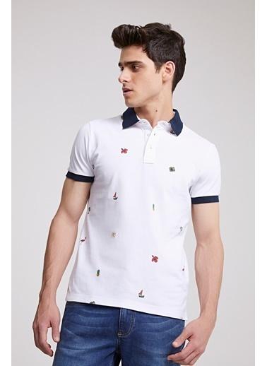 TWN Slim Fit Baskılı T-Shirt Beyaz